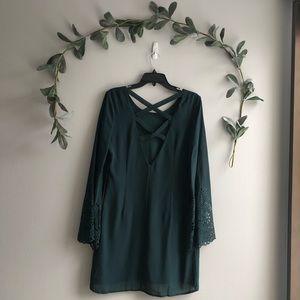Green long sleeve cross back dress
